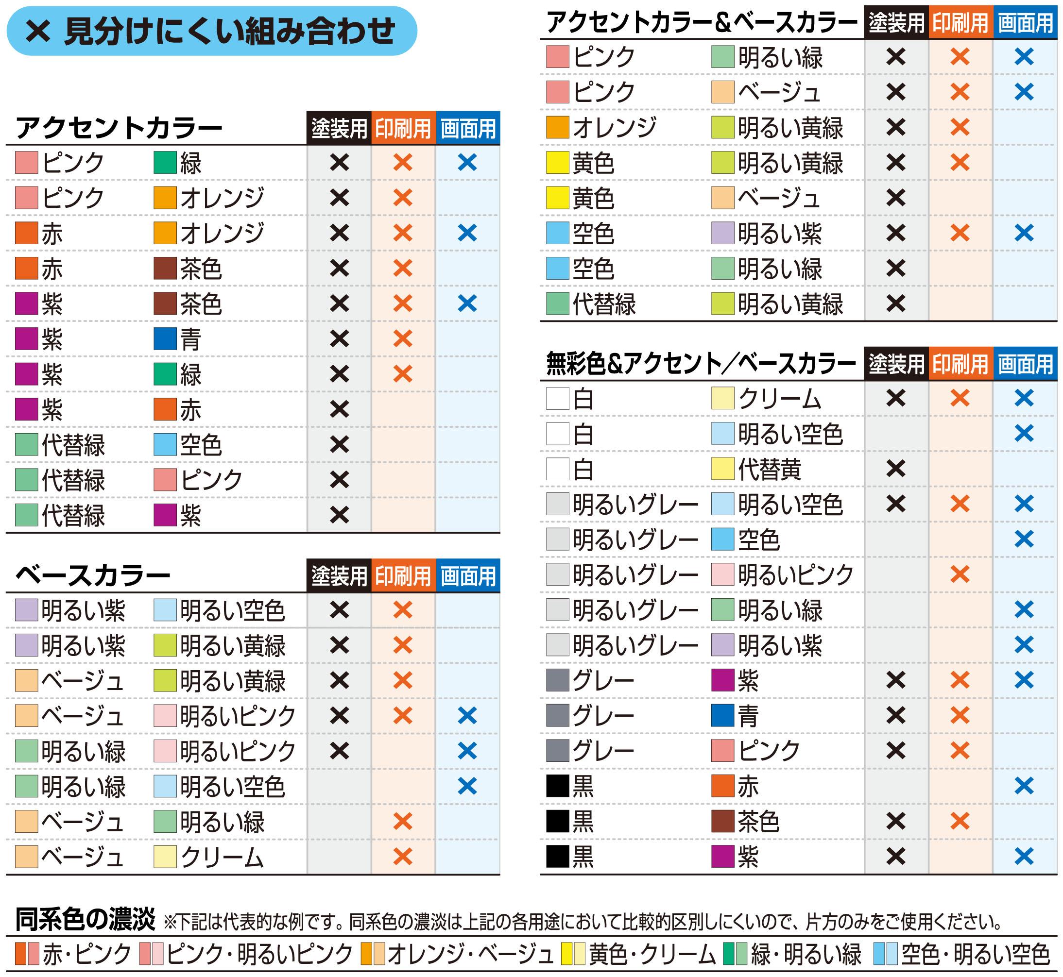 2 Color Combination カラーユニバーサルデザイン推奨配色セット